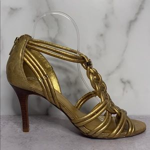 Tory Burch Gold Braided Leather Sandals Z1 0388